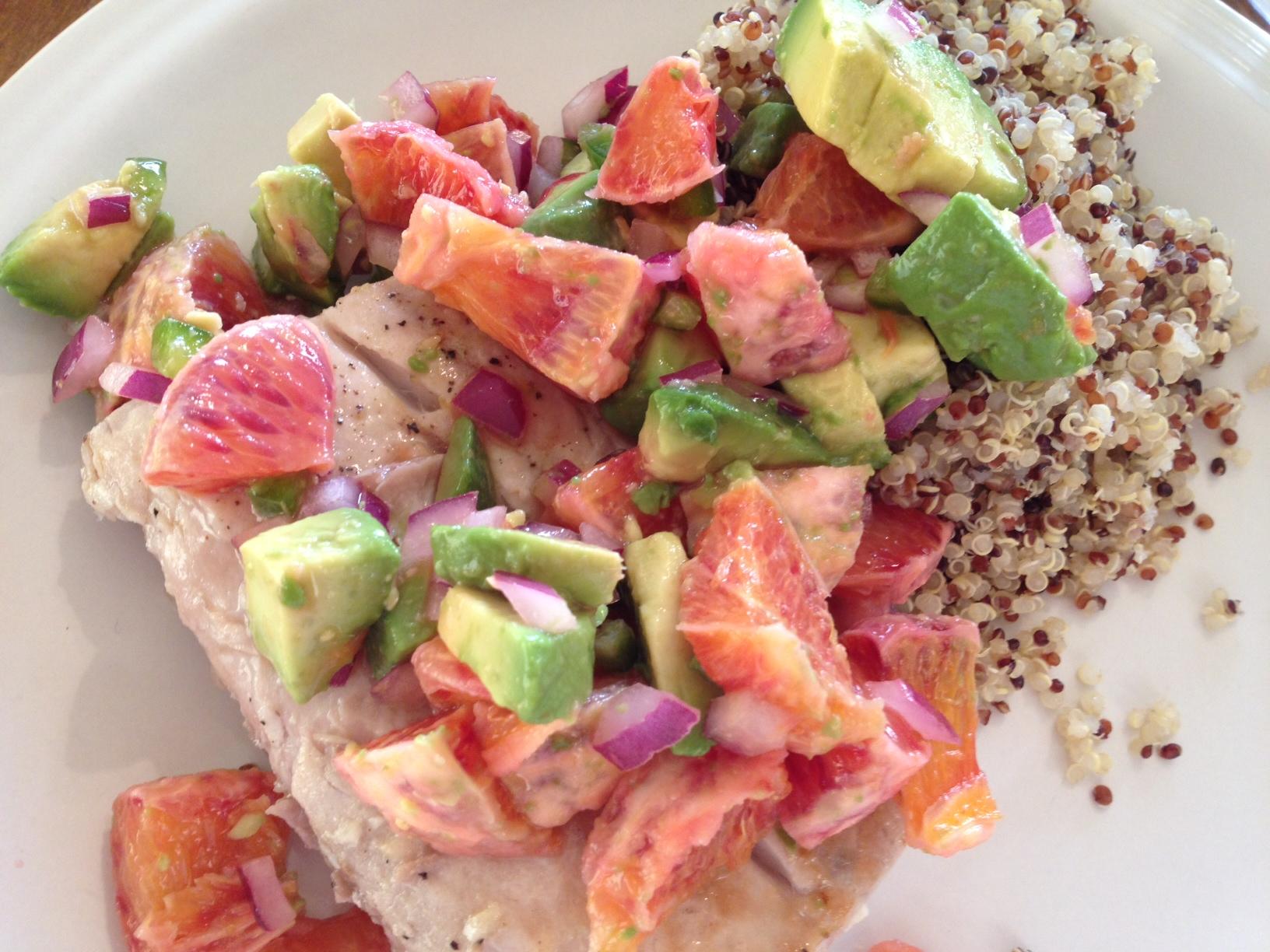 mahi-mahi and quinoa with blood orange salsa