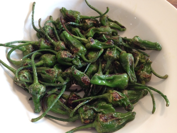 cooked padron peppers