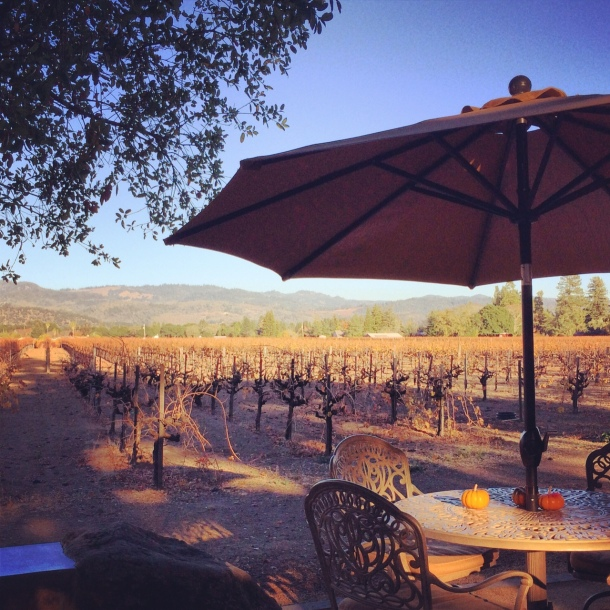 The patio at Chase Family Cellars, overlooking the Hayne Vineyard