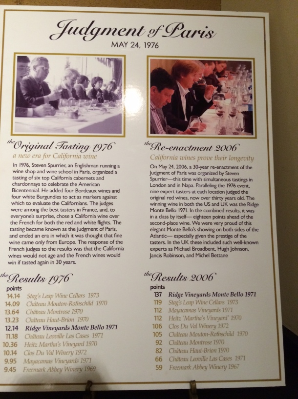 A poster in the tasting room, describing the results of the Judgement of Paris