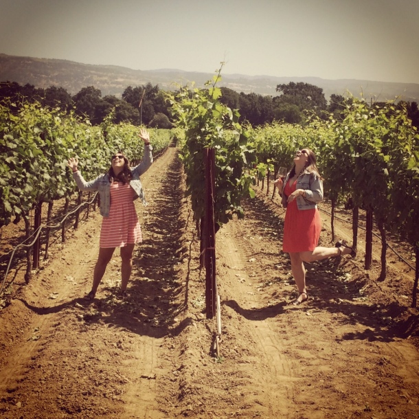 The sisters posing in the vineyard at Robert Biale