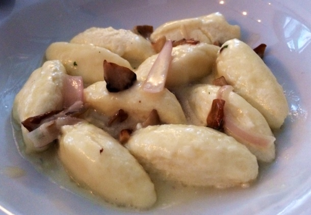 Bellwether Farms ricotta gnocchi with Hen of the Woods mushrooms, shallots and tarragon