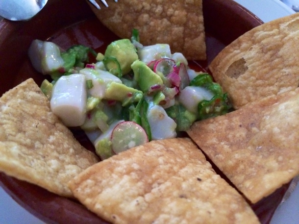 Montauk scallop ceviche with avocado, radishes, Padron peppers, and tortilla chips