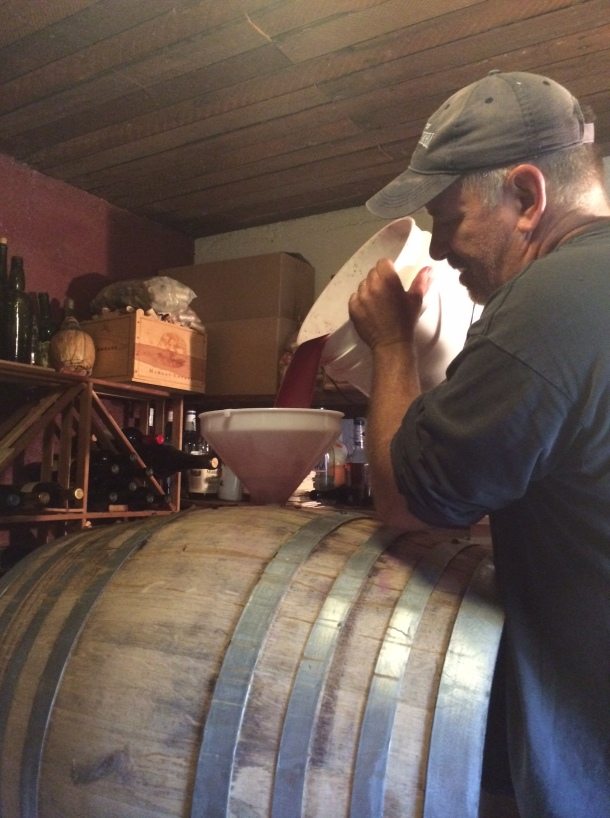 Transferring the juice to the barrel.