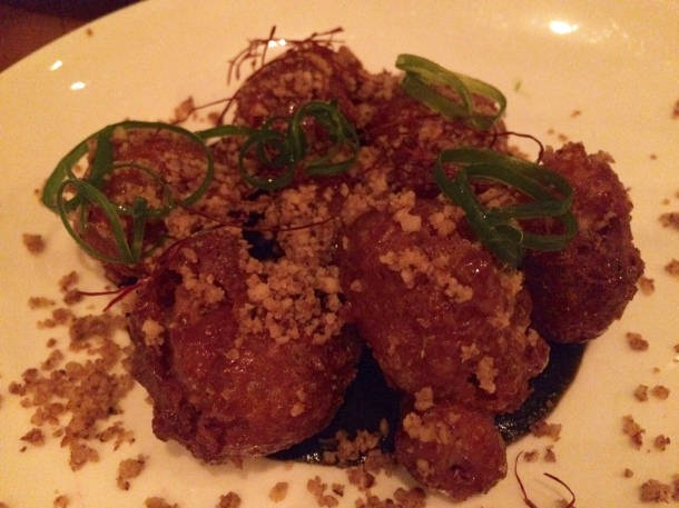 """honey walnut"" sweetbreads, JW's black sriracha, chili threads, scallions"
