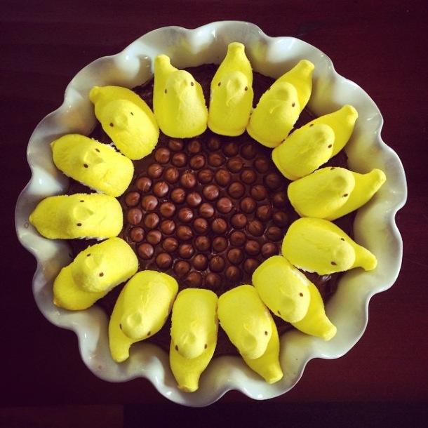 Sunflower Peep Brownie Cake!