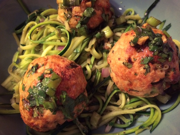 Asian Turkey Meatballs with Zucchini Noodles | Seasons of Wine