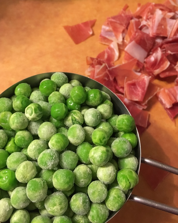 I've used fresh shelled and frozen peas for this recipe and the difference is minimal